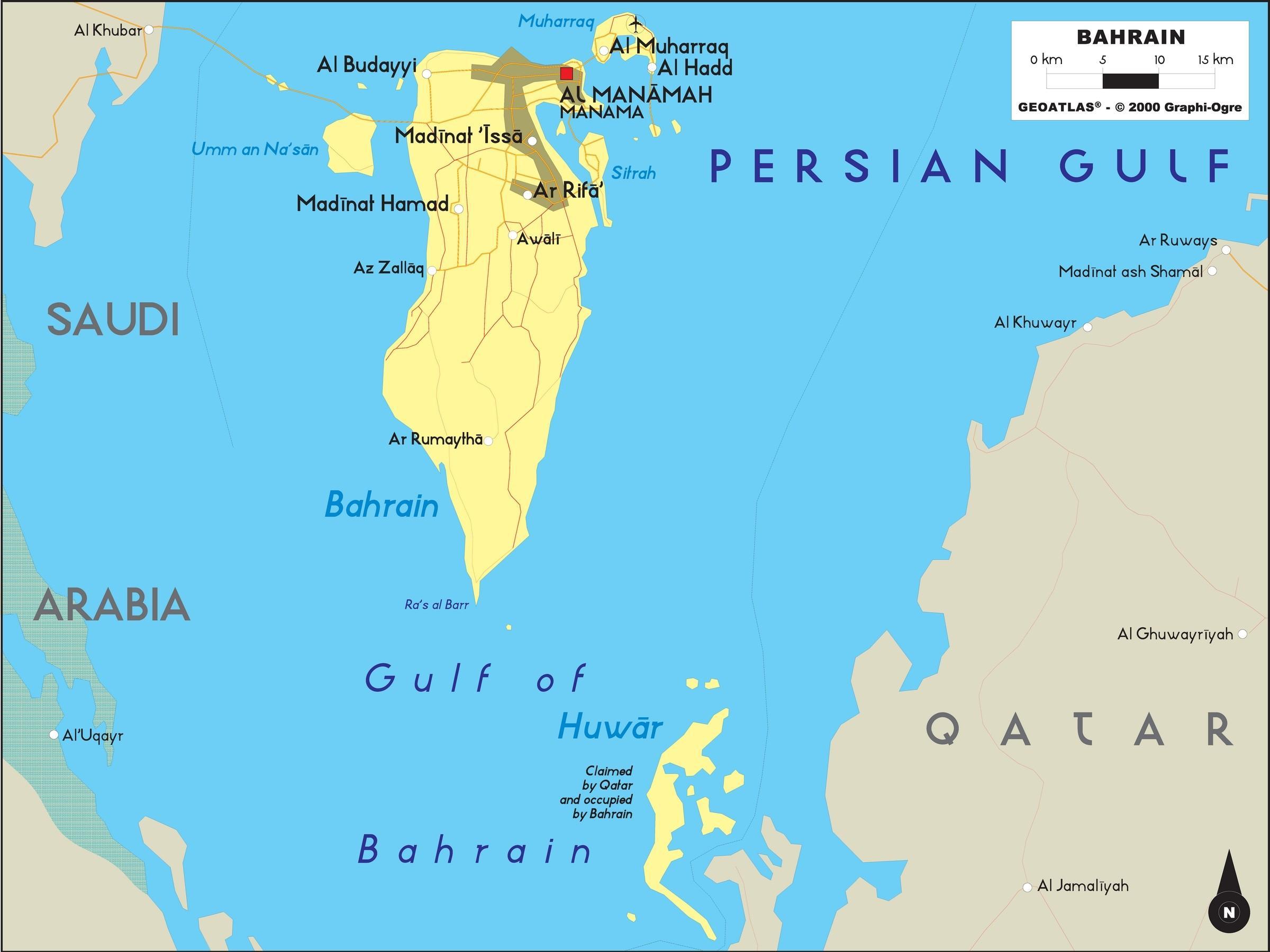 Bahrain offline-Landkarte - Karte von Bahrain offline (West-Asien ...